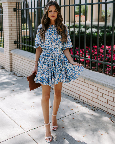 Sophie Leopard Rope Tie Dress - Blue