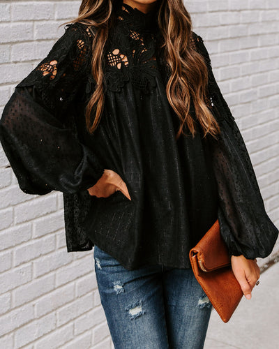 When You're Ready Swiss Dot Lace Shimmer Blouse