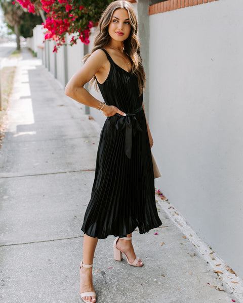 Get Your Gleam On Satin Pleated Midi Dress - Black