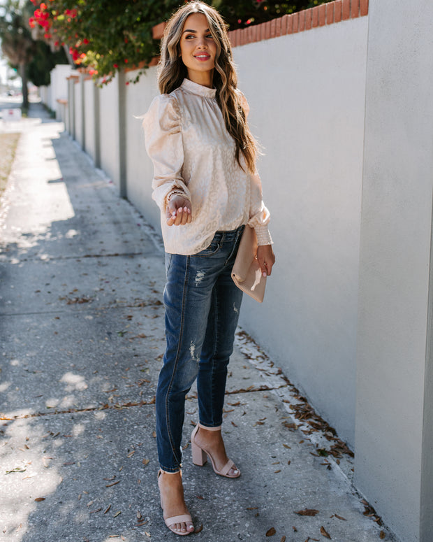 Shameless Embossed Puff Sleeve Blouse - Beige