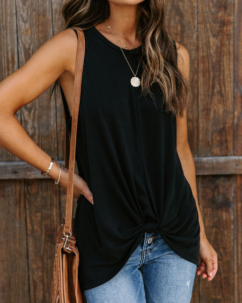 Paulina Knotted Tank - Washed Black