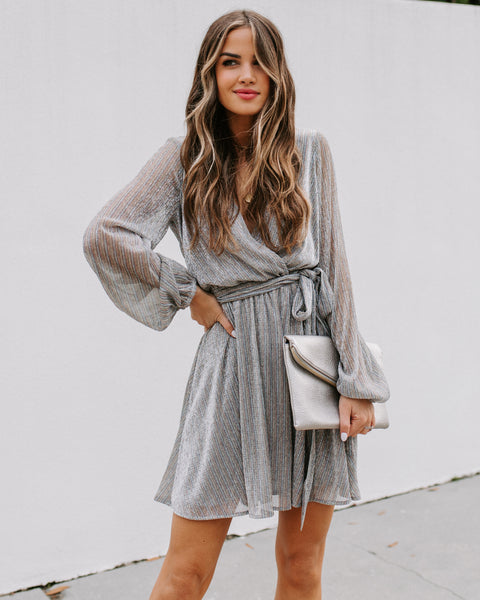 Get Your Sparkle On Metallic Dress - Silver - FINAL SALE