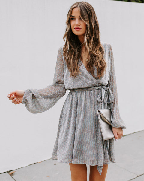 Get Your Sparkle On Metallic Dress - Silver