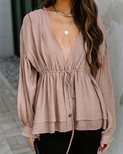 Free Flowing Drawstring Blouse - Light Mocha