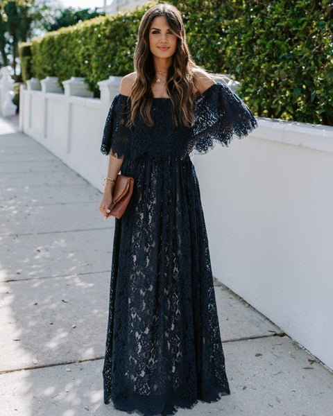 By Tonight Off The Shoulder Lace Maxi Dress - FINAL SALE