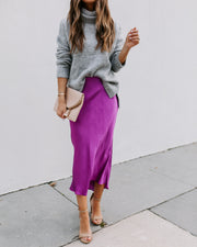 Ecstatic High Low Silk Maxi Skirt - Orchid