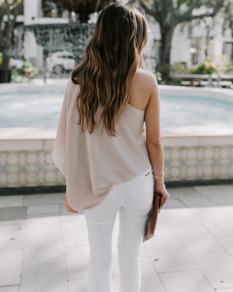 Shower With Love One Shoulder Blouse - Ecru