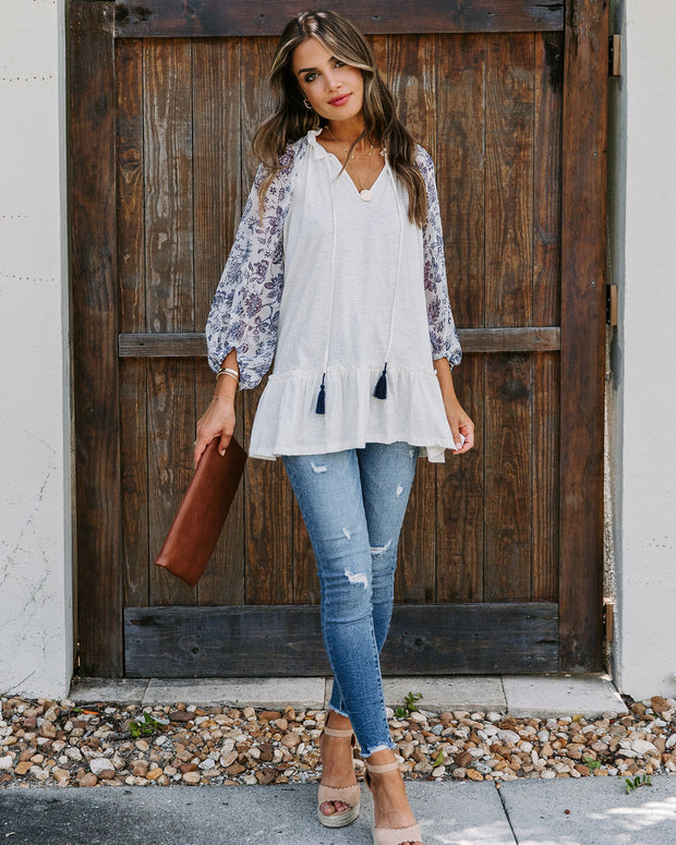 Wells Cotton Contrast Sleeve Knit Tunic