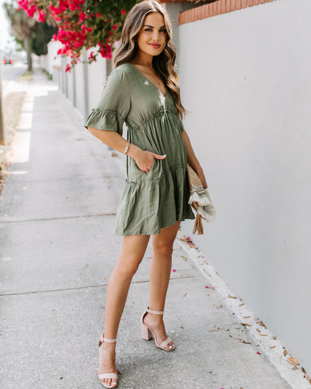 There She Goes Pocketed Ruffle Tiered Dress - Aloe