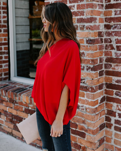 Shower With Love One Shoulder Blouse - Tomato Red