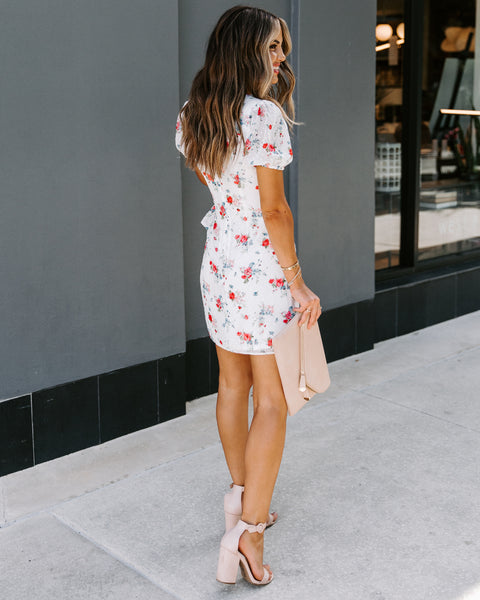 Clean Sweep Floral Swiss Dot Tie Dress