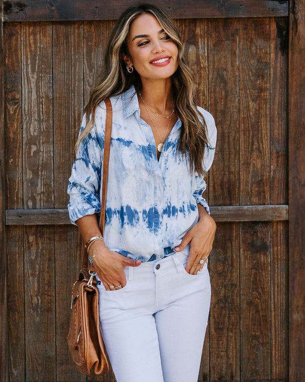 Whitecap Tencel Tie Dye Button Down Top