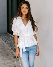 Outspoken Pleated Tie Blouse - White - FINAL SALE