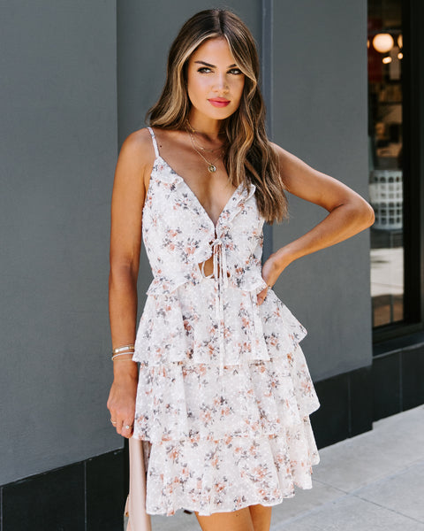 Lorena Floral Ruffle Tiered Eyelet Dress