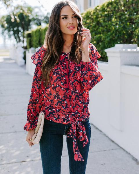 Special Delivery Floral Ruffle Tie Blouse