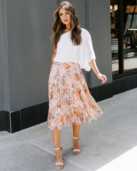 Created With Love Floral Pleated Midi Skirt