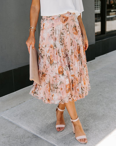 Created With Love Floral Pleated Midi Skirt - FINAL SALE