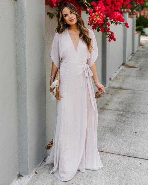 Fascinate Wrap Kimono Maxi Dress - Light Pink