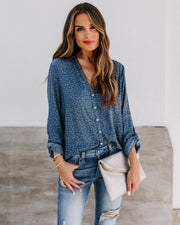 Ursa Star Embossed Tie Top - Slate Blue