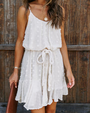 Fletcher Rope Tie Pom Dress - Cream
