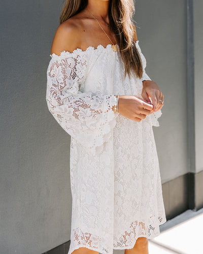 Candlelit Off The Shoulder Lace Dress