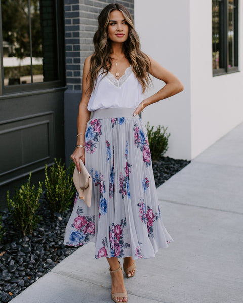 Khalil Floral Pleated Midi Skirt