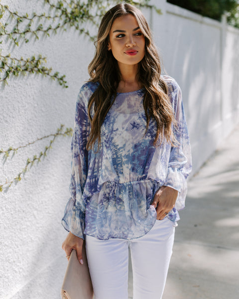 Be My Firefly Printed Chiffon Peplum Top