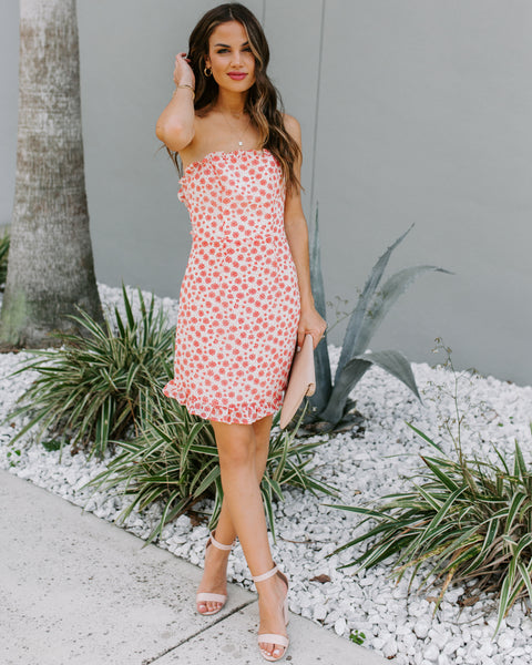 Sweet As Pie Strapless Ditsy Dress  - FLASH SALE