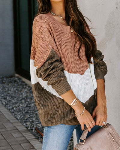 Maddox Chevron Knit Sweater - Mocha/ Olive