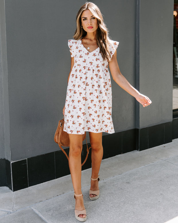 Dive Right In Floral Eyelet Babydoll Dress
