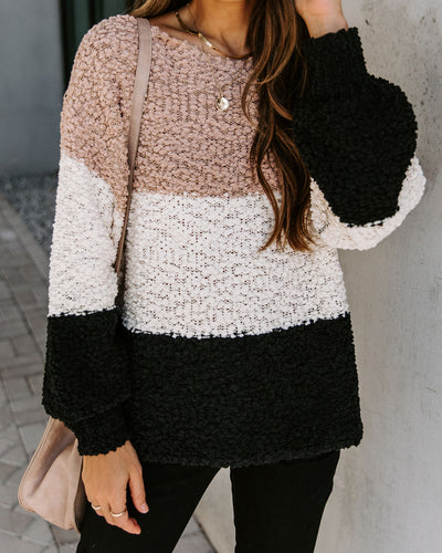 Lilia Boat Neck Colorblock Knit Sweater
