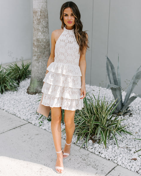 To Be Loved Tiered Lace Halter Dress