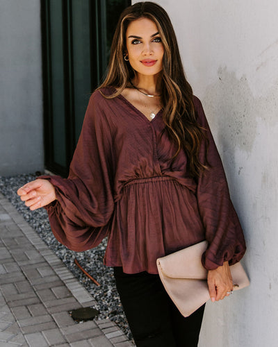 Artie Balloon Sleeve Drawstring Blouse - Mocha