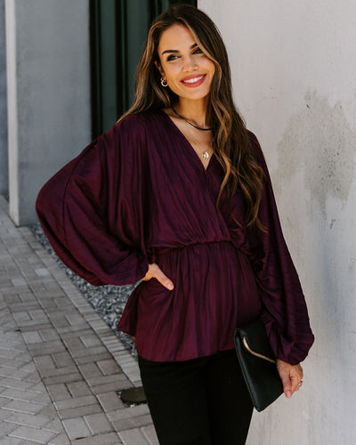 Artie Balloon Sleeve Drawstring Blouse - Merlot