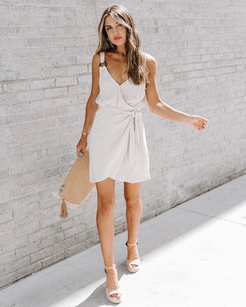 Bonjour Weekend Cotton + Linen Tie Dress