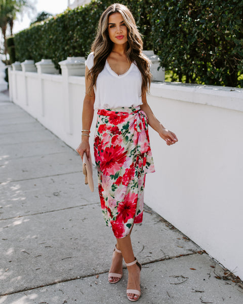 Glasshouse Floral Satin Wrap Midi Skirt