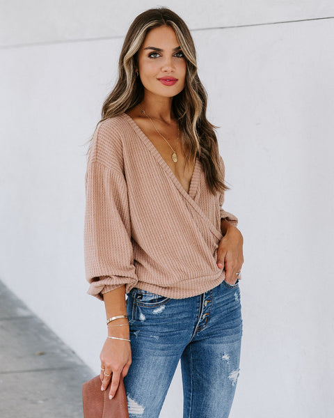 Down The Road Thermal Knit Drape Top - Mocha