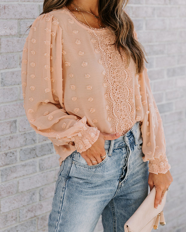 Maryam Lace Pom Blouse - Dusty Apricot