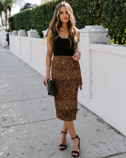 Brucie Leopard Ribbed Knit Wrap Skirt