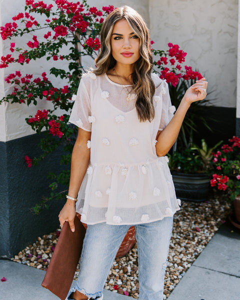 Pom Pom Short Sleeve Peplum Top