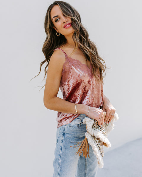 On A Whim Velvet Lace Cami Tank - Mauve