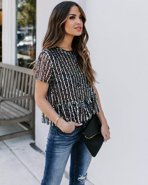 Punch Line Sequin Peplum Top