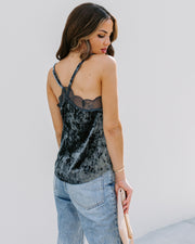 On A Whim Velvet Lace Cami Tank - Dusty Blue