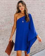 Side To Side One Shoulder Statement Dress - Royal Blue view 5