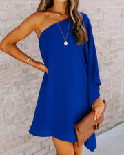 Side To Side One Shoulder Statement Dress - Royal Blue view 1
