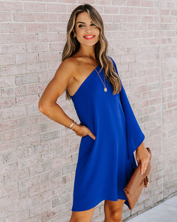 Side To Side One Shoulder Statement Dress - Royal Blue view 6