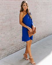 Side To Side One Shoulder Statement Dress - Royal Blue view 7