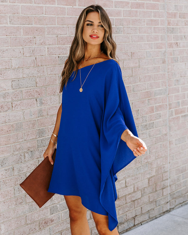 Side To Side One Shoulder Statement Dress - Royal Blue view 3