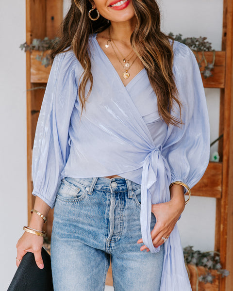 Natasha High Sheen Wrap Blouse
