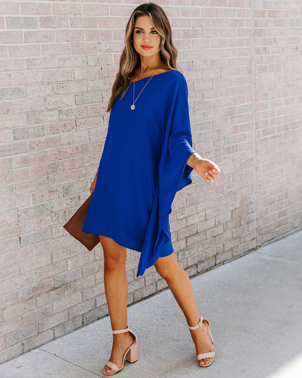 Side To Side One Shoulder Statement Dress - Royal Blue view 8